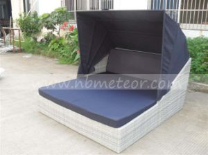 Weather Proof Outdoor Patio Rattan Outdoor Sofa Beds with Canopy Mtc-407 pictures & photos