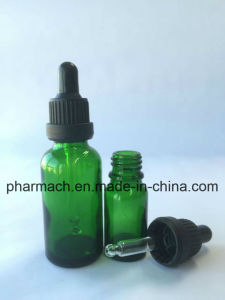 Green Essential Oil Glass Bottle with Dropper Tamper Evident Cap pictures & photos