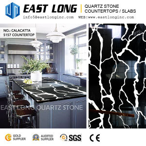 Black Color Engineered Quartz Stone Countertops Solid Surface for Wall Panel /Homedecoration (SGS/CE) pictures & photos