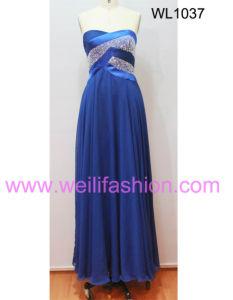 Cheap Long Beading Pleated Chiffon Evening Dresses