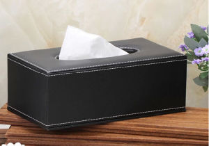 Wood Leather Tissue Box Facial Paper Tissue Box Car Tissue Tin Box (Hx02) pictures & photos