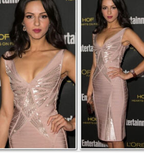 Shiny Sequins V Neck Sleeveless Bandage Dress pictures & photos