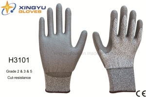Hppe Shell PU Coated Cut-Resistance Safety Work Glove (H3101) pictures & photos