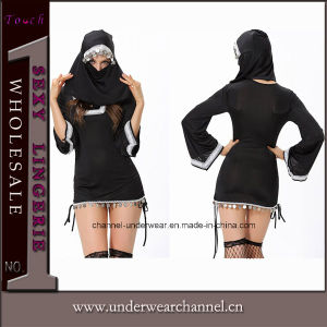 High Quality Woman Adult Sexy Black Nun Dress Costume (10725) pictures & photos