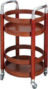 Wooden Round Wine Service Trolley Fw-72 pictures & photos