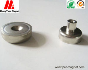 Strong NdFeB Permanet Magnet Cup Holder with Threaded Stud