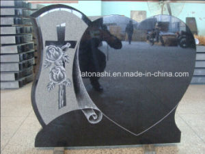 Polished Black Granite Heart Carving Headstone pictures & photos