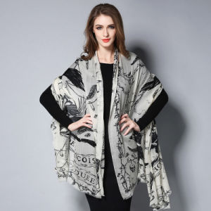 Digital Printing Black and White Wool Scarf pictures & photos