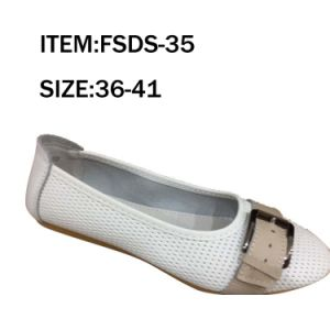 Decorate White Flat TPR Sole Fashion Lady Leather Shoes pictures & photos