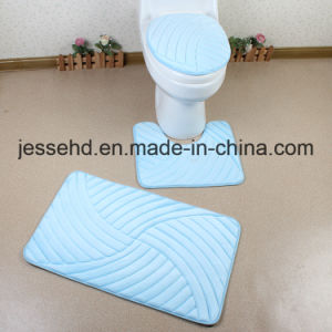 2017 Hot Selling Flannel Embossed Foam Sponge 3PCS Bathroom Mats Set pictures & photos