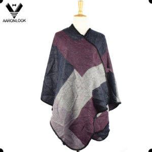 2017 New Irregular Geometry Grid Cashmere Wrap Poncho pictures & photos