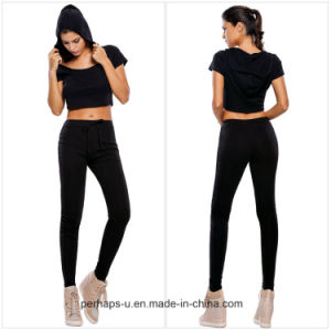 Streets Ladies Cotton Short Hoody Casual Suit pictures & photos