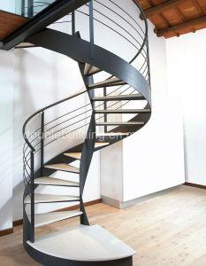 Black Steel Spiral Staircase Modular Wrong Iron Staircase pictures & photos