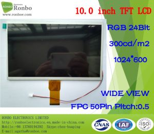 "10.1"" 1024*600 RGB 50pin 300CD/M2 Wide View PC/Car/GPS LCD Monitor pictures & photos"