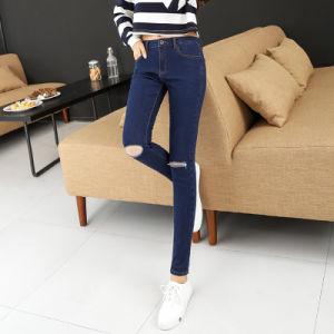 Long Fashion Light Blue Denim Designer Lady Custom Jean pictures & photos