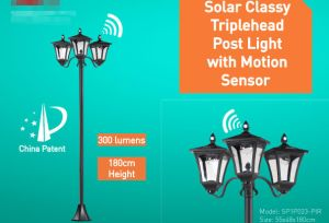 Solar Glassy Thriplehead Post Light with Motion Sensor pictures & photos