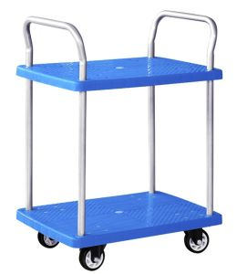 300kgs Double Decker Plastic Trolley with Guardrail Noiseless Service Hand Cart pictures & photos