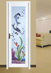 Woodwin Hot Selling Double Tempered Glass with Pattern Aluminum Bathroom Door pictures & photos