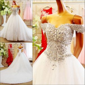 2017 off Shoulder Evening Prom Train Bridal Wedding Dresses Rfl1701 pictures & photos