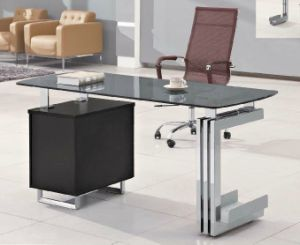 Tempered Glass Black Color Office Desk /Table (HX-GL026) pictures & photos