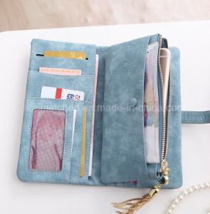 New Fashion Women Wallets Female Leather Zipper Wallet Women′s Long Design Coin Purse Holders Retro Wallet and Purses pictures & photos