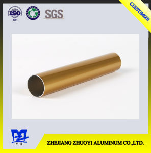 Golden Electrophoresis Aluminum Extrusion Round Pipe pictures & photos