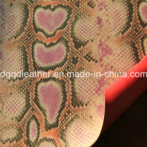 Snake Surface Double-Sided PU Shoes Leather (QDL-SP032) pictures & photos