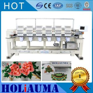 Industrial 6 Heads Embroidery Machine Computerized Cap/ T-Shirt/Garments Flat Embroidery Machine Sewing Machine Manual Operation Computer pictures & photos