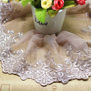 Factory Stock Wholesale 15cm Width Embroidery Nylon Lace Polyester Embroidery Trimming Fancy Lace for Garments Accessory & Home Textiles & Curtains pictures & photos