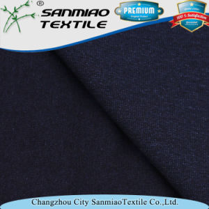 Indigo Soft Slub Single Jersey Cotton Knitted Denim Fabric for Garments pictures & photos