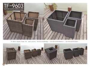 Square Handcraft Resin Wicker Garden Flower Planter
