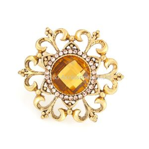 Gold Metal Alloy Rhinestone Flower Womens Finger Ring Fashion Jewelry pictures & photos