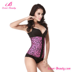 Abdominal Pink Leopard Latex Corset Steel Boned Waist Training pictures & photos