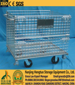 Foldable Steel Wire Mesh Cage with Wheels for Warehouse Storage pictures & photos