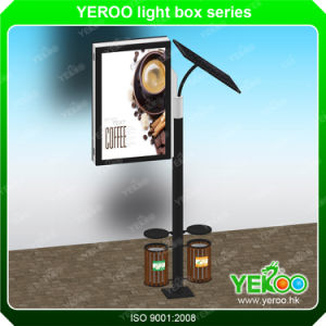 Street Equipment Solar Power Advertising Light Box with Trash Can pictures & photos