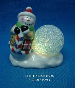 Color-Changing LED Lighted Ceramic Snowman with Stamp pictures & photos