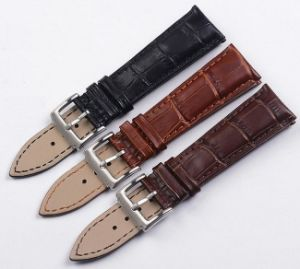 Luxury Grain Cow Black/Brown Replacement Embossed Watchband Genuine Leather High Quality 18mm 20mm 22mm Wrist Watch Band pictures & photos