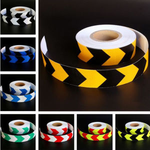 5cm Reflective Tape Lemon Yellow and Black with Honey Comb Arrow Type