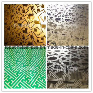 201 304 316 Decorative Stainless Steel Plate with 8k Mirror Etched Antique Finish pictures & photos