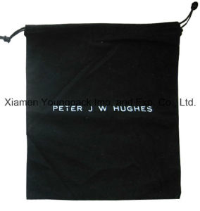 Promotional Custom Printed Soft Brushed Black Cotton Canvas Drawstring Pouch pictures & photos