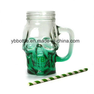 High Quality Skull Shaped Glass Mug with Straw, Drinking Mason Jar pictures & photos