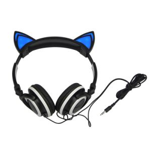 Flashing Glowing LED Cat Ear Headphone Foldable Gaming Headset pictures & photos