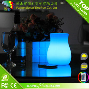 Polyethylene Battery Rechargeable Cordless LED Portable Flower Pot Design Table Lamp pictures & photos