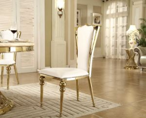 White Leather Golden Stainless Steel Dining Chair for Sale pictures & photos