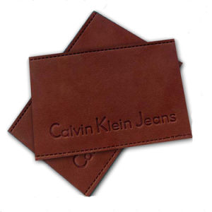 Fashion Design Custom Embossed Leather Label for Jeans pictures & photos