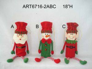 "16""H Santa and Snowman Wine Bottle Holder 3 Asst-Christmas Decoration pictures & photos"
