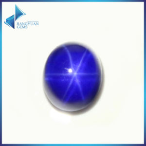 Oval Cabochon Cut Lab Created Synthetic Blue Star Sapphire pictures & photos