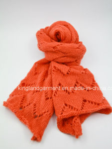 100% Acrylic Orange Zigzag Knitted Scarf pictures & photos