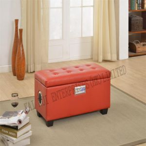Music Storage Multifunctional Modern PVC Leather Ottoman with Blue Tooth