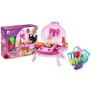 Wholesale Educational DIY Plastic BBQ Toys Kitchen Play Set with Basket and Light (10233065) pictures & photos